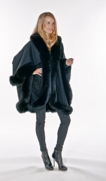 100% real cashmere fur cape-genuine cashmere fox fur cape