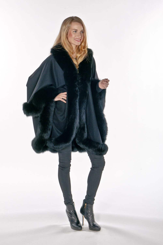 100% real cashmere fur cape-genuine cashmere fox fur cape