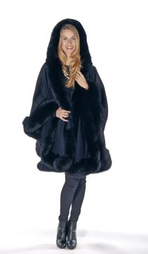 genuine cashmere cape with fox fur trim