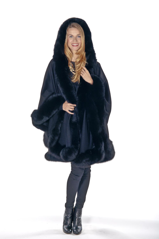 genuine cashmere cape with fox fur trim