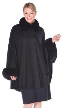 natural cashmere cape-fox fur trim-black