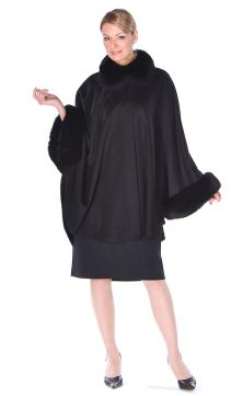 cashmere cape fox fur-black-plus size