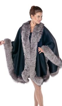 genuine fox fur trim cape-silver-majestic