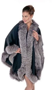 Black-Cashmere-Cape-Silver-Fox-Trim-Plus-Size