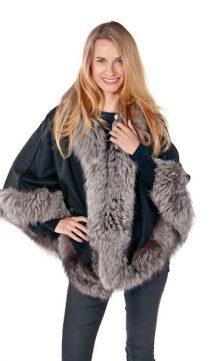 fur cape black-silver fox trim princess style