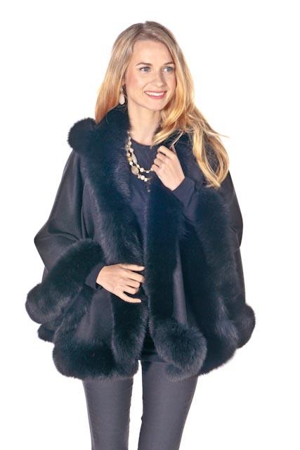 real fur cashmere cape-black cashmere cape
