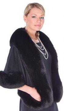 cashmere cape with fox fur-black-stole