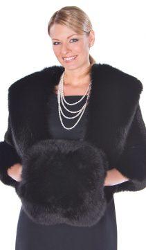 fur muffs-natura blackl fox muff and black fox fur handwarmer