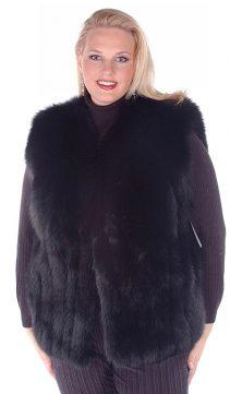 plus size real fox fur vest for women-black fox fur vest-genuine fox fur vest