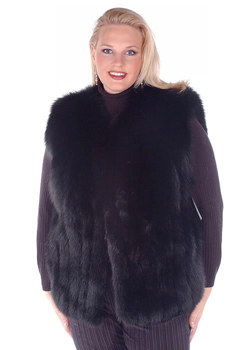 bb0a610fef993 plus size real fox fur vest for women-black fox fur vest-genuine fox