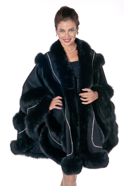 5da0c8db7c Black Fox Swarovski Trim Empress Cashmere Cape