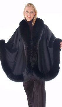 black fox trimmed cashmere cape