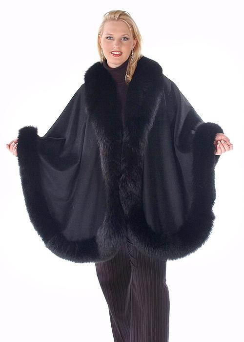 black fox trimmed cashmere cape
