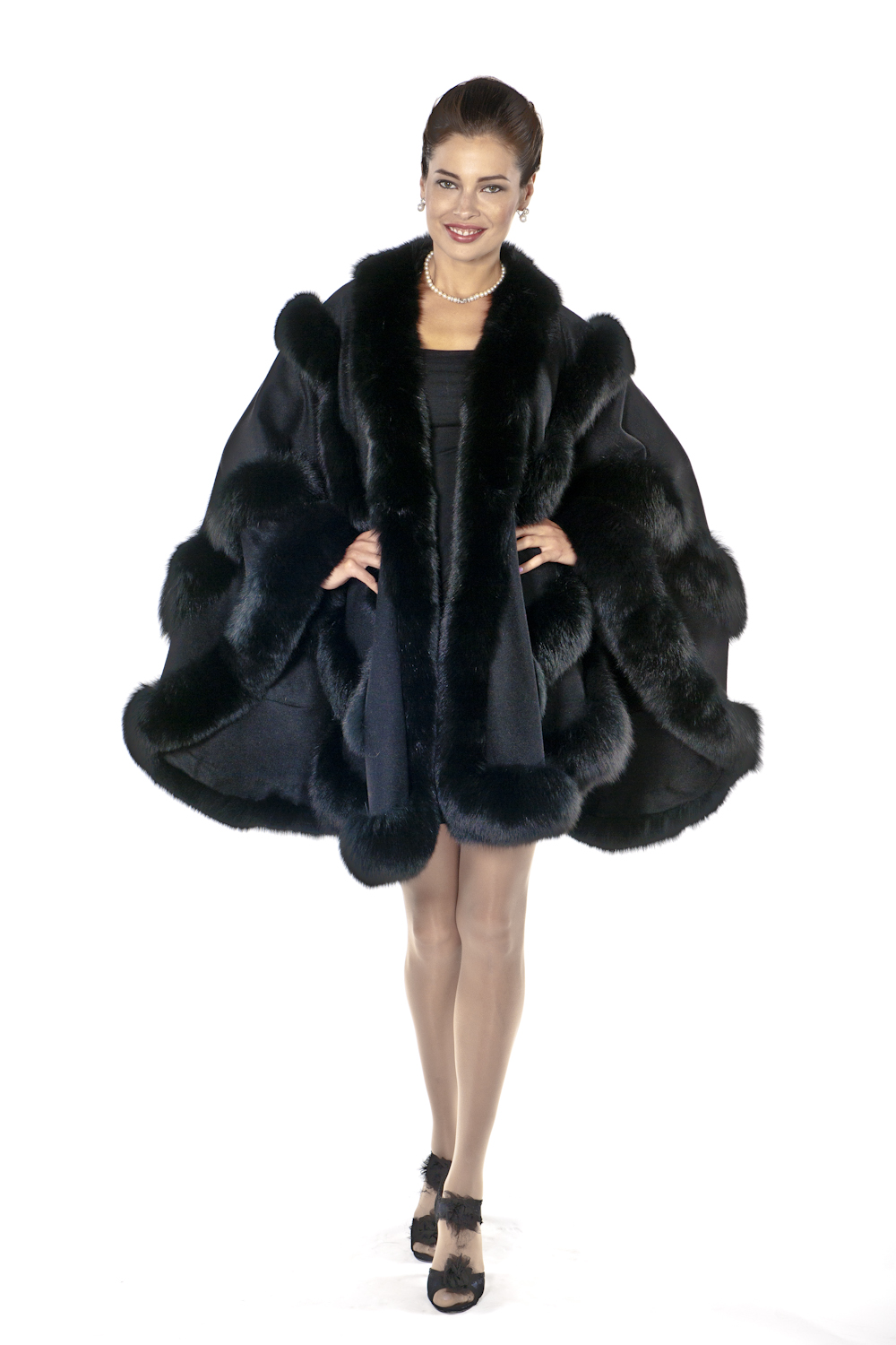 black cashmere cape with fox fur