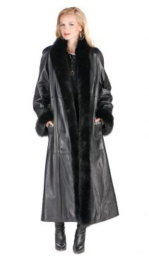 black leather coat with fox trim and cuffs