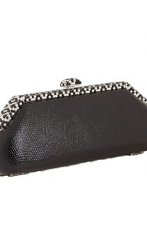 Black-Lizard-Evening-Bag-Art-Deco-Swarovski Clasp