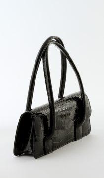 Black-Patent-Leather-Handbag-Crocodile-Pattern