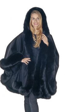 cashmere genuine fox fur trim cape-black-plus size