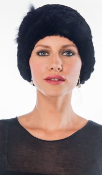 natural real black sheared rex rabbit fur hat-genuine fur rabbit hat-flower trim