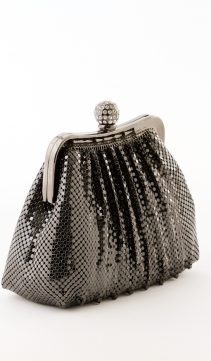 Black-Soft-Mesh-Evening-Bag-Crystal-Ball-Clasp