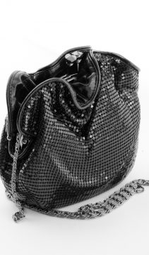 Black-Soft-Mesh-Evening-Bag-Pouch-Glittering-Roses
