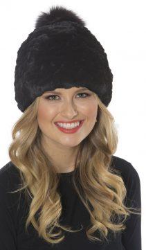 Black-Stretch-Knitted-Fur-Hat-Pom-Pom