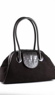 Black-Ultra-Suede-Handbag-Doctor-Bag-Style