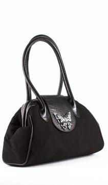 Black-UltraSuede-Doctor-Handbag-Butterfly-Design