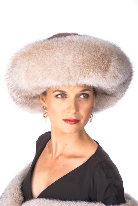 a95d8e9914478 Blush Frost Fox and Mink Hat-Large Brim Fur Hat