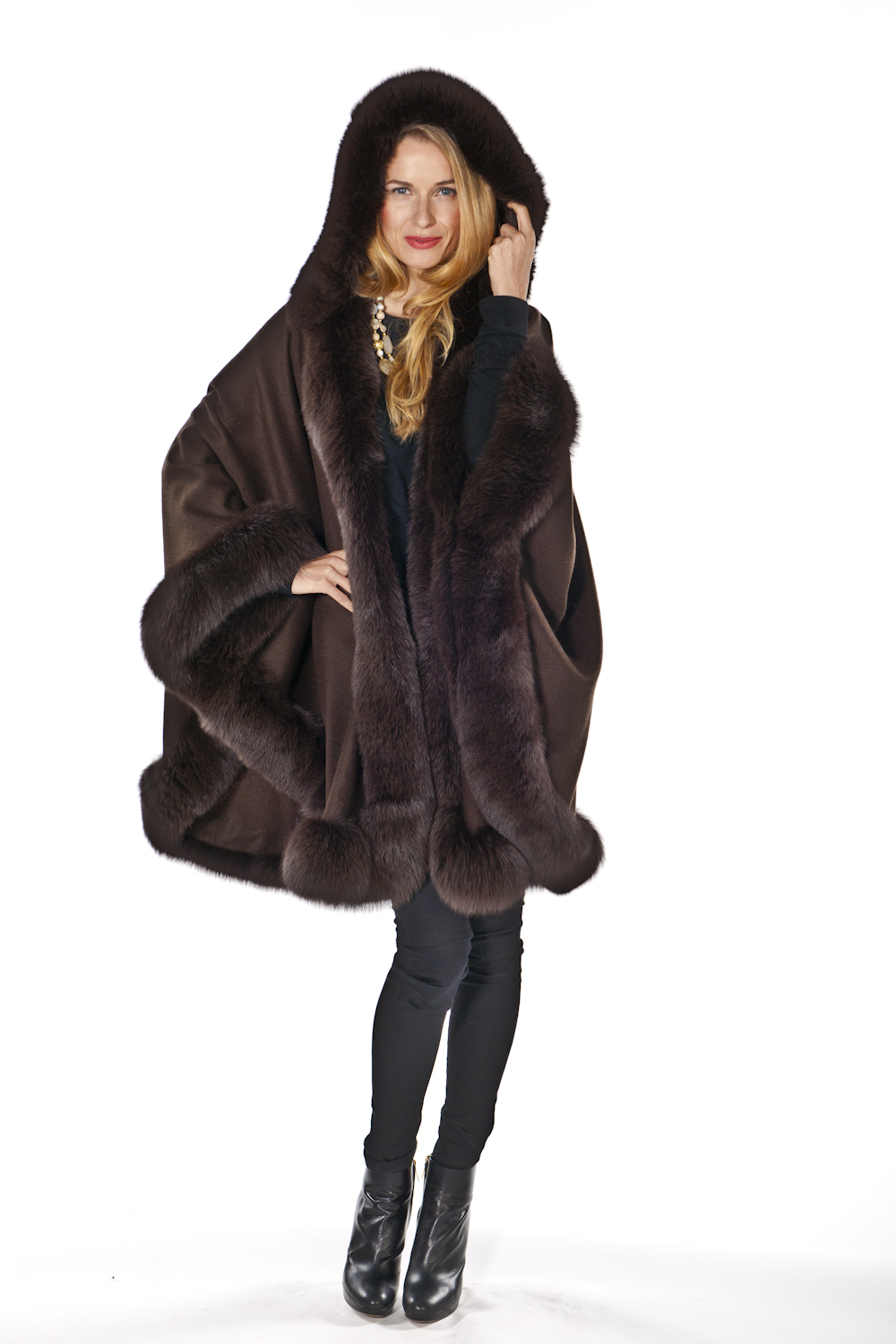 fur trimmed hooded cape-brown-detachable hooded