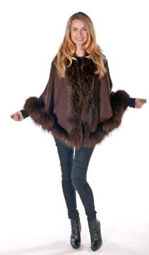 cashmere fur-trim cape-finn raccoon princess style