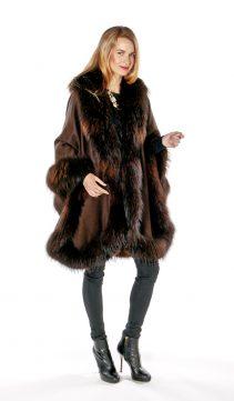 cape with fur trim-finn raccoon trim plus size