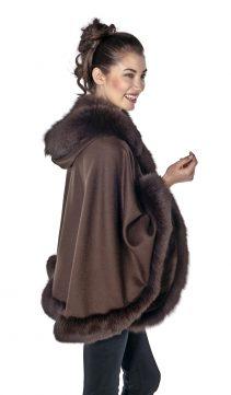 genuine fox fur trim short cashmere cape