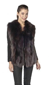 fox vest-fox fur vest-natural fur vest v neck style-brown fox fur