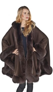 natural cashmere cape-plus size-brown
