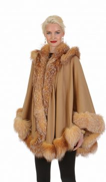 cashmere cape-camel-crystal fox trim