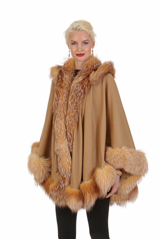 cashmere cape-camel-crystal fox trim