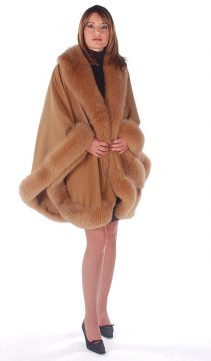 cashmere fur-fox trimmed-cape-taupe-majestic