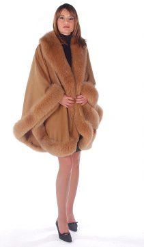 cashmere fur-fox trimmed-cape-taupe-majestic