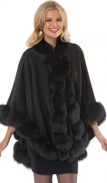 real cashmere cape women-black fox trim-marquessa