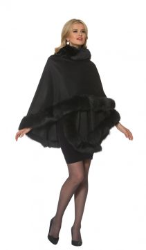 cashmere fur-trim cape-black cashmere cape