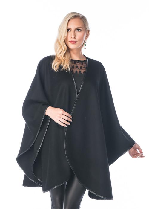 black cashmere cape with fox fur