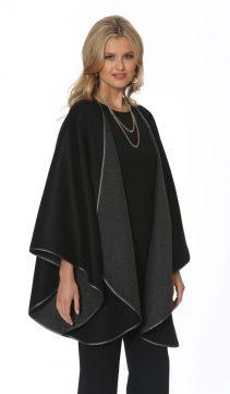 genuine cashmere cape-black reversible to grey