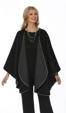 real fur cashmere cape-black-reversible-to-grey-plus size