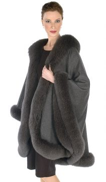 Cashmere-Cape-Charcoal-Gray-Fox-Trim-Majestic
