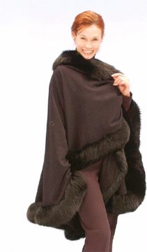 cashmere fur cape-fox trim-dark brown