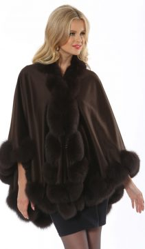 original cashmere cape with fox trim-dark brown-marquessa