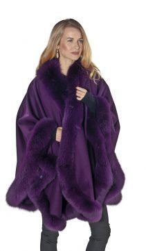 genuine fox fur trim cashmere cape