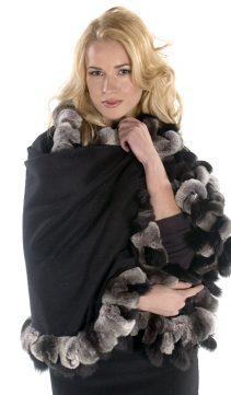 100% pure cashmere cape-chinchilla rex black fox trim