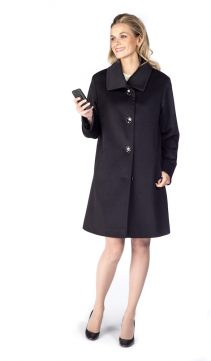 fur trimmed wool coat-pure cashmere coat- walking coat